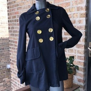 MISS SIXTY gold button navy double breasted trench